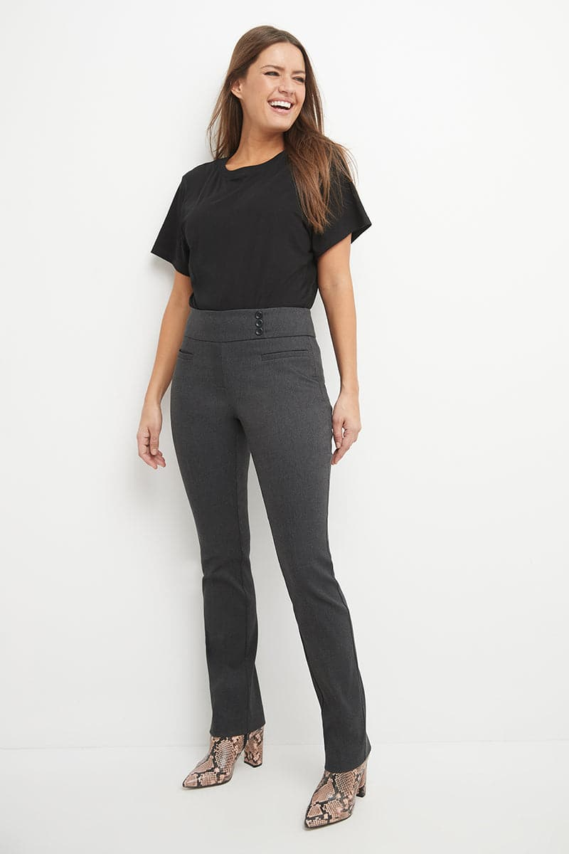 Straight dress pants with tummy control and pockets