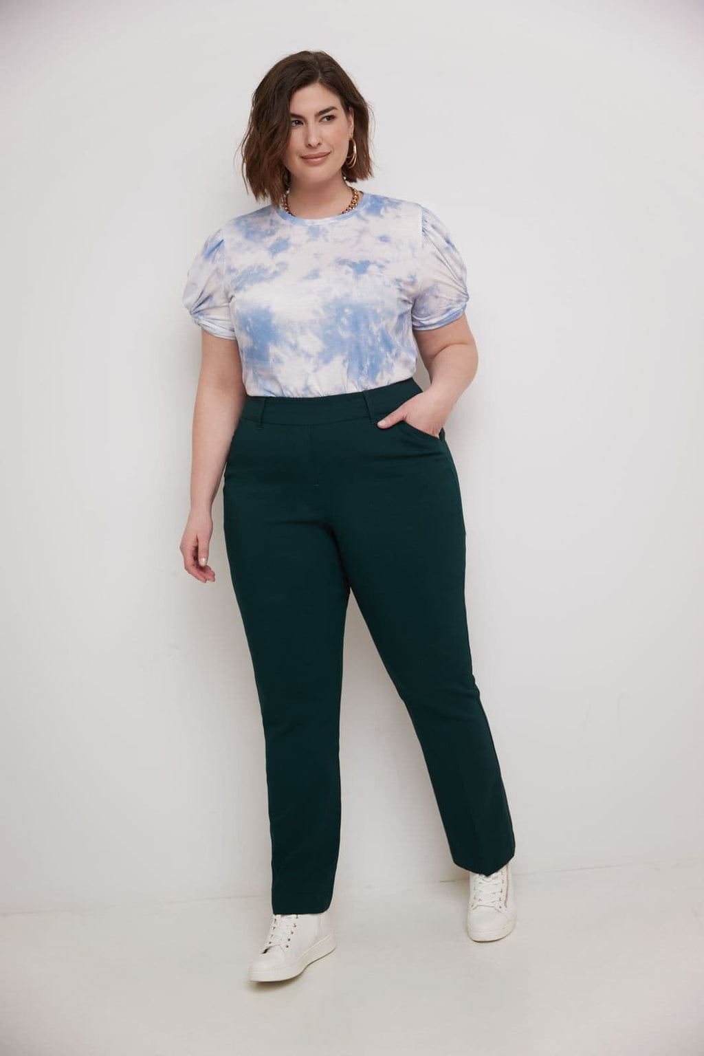 Curvy Pull-on Barely Bootcut Dress Pants Plus Size