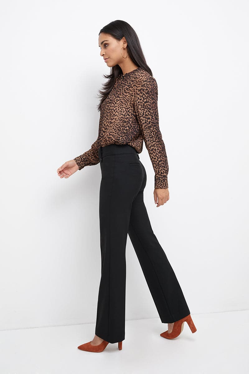Pull-on Bootcut Dress Pants with Belt Loops & Tummy Control