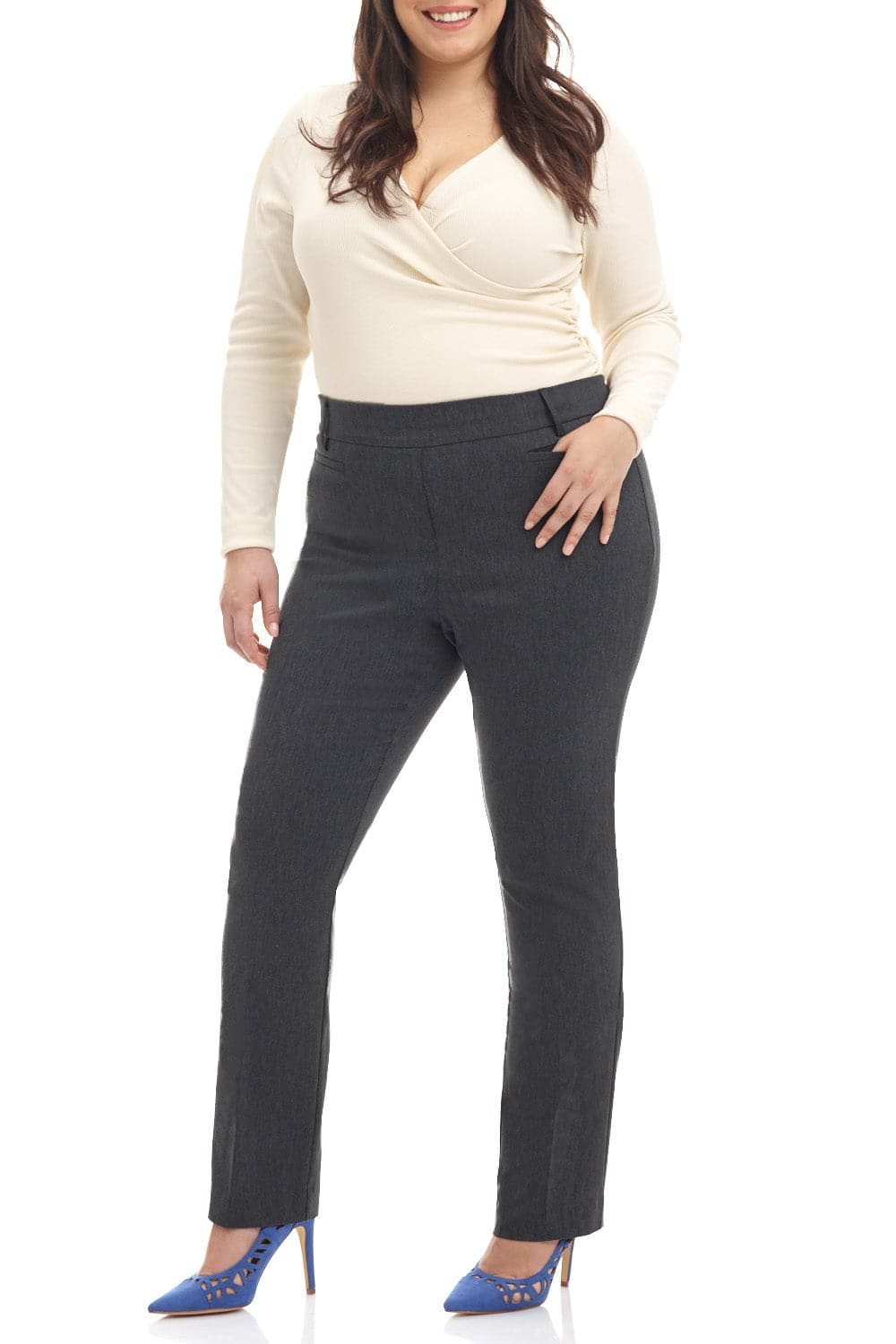 Curvy Pull-on Tummy Control Dress Pants with Real Pockets
