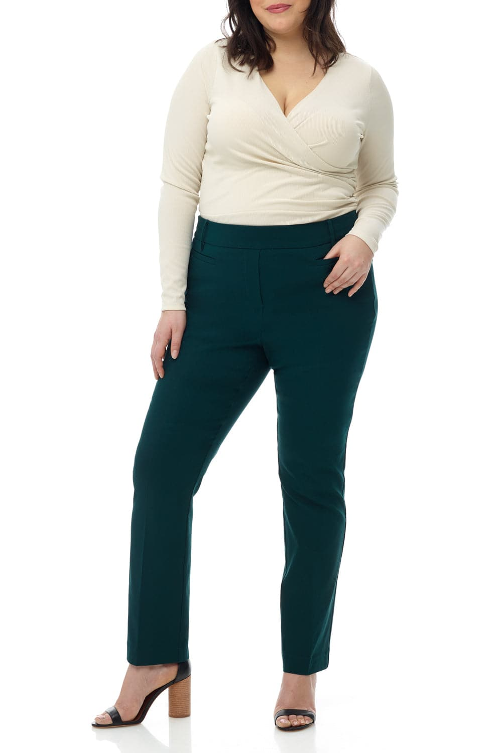 Curvy Woman Ease into Comfort Straight Leg  Pant with Tummy Control
