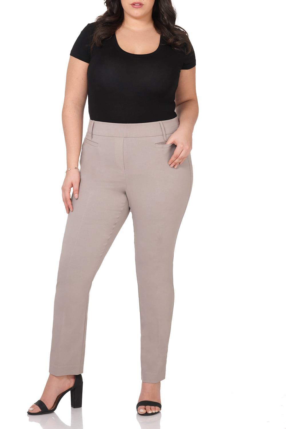 373baa640ac Curvy Woman Ease into Comfort Straight Leg Pant with Tummy Control ...