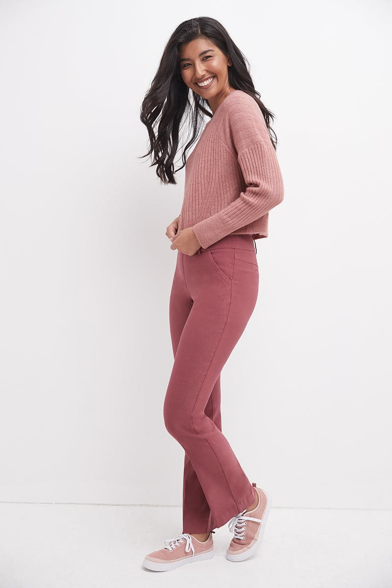 Stretch bootcut dress pants with tummy control and pockets