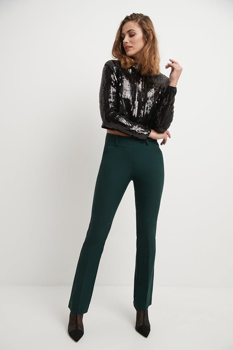 Stretch bootcut pants with tummy control and pockets