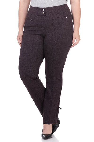 Curvy Secret Figure Knit Plus Size Straight Pant with Tummy Control