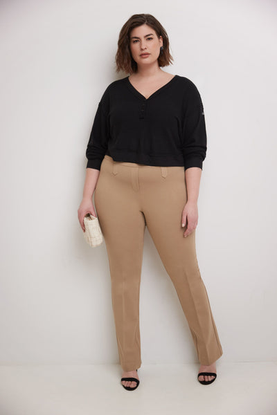Curvy Woman Secret Figure Knit Bootcut Plus Size Pant with Tummy Control