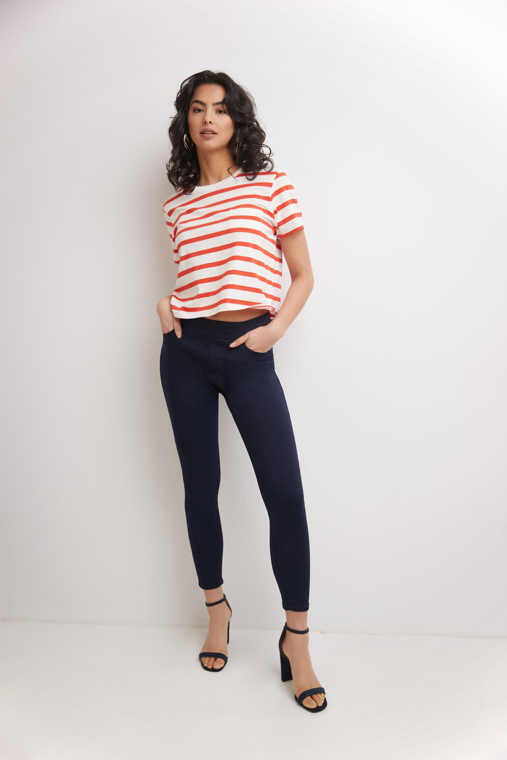 Skinny Pull-On Colored Jeans with Pockets & Belt Loops