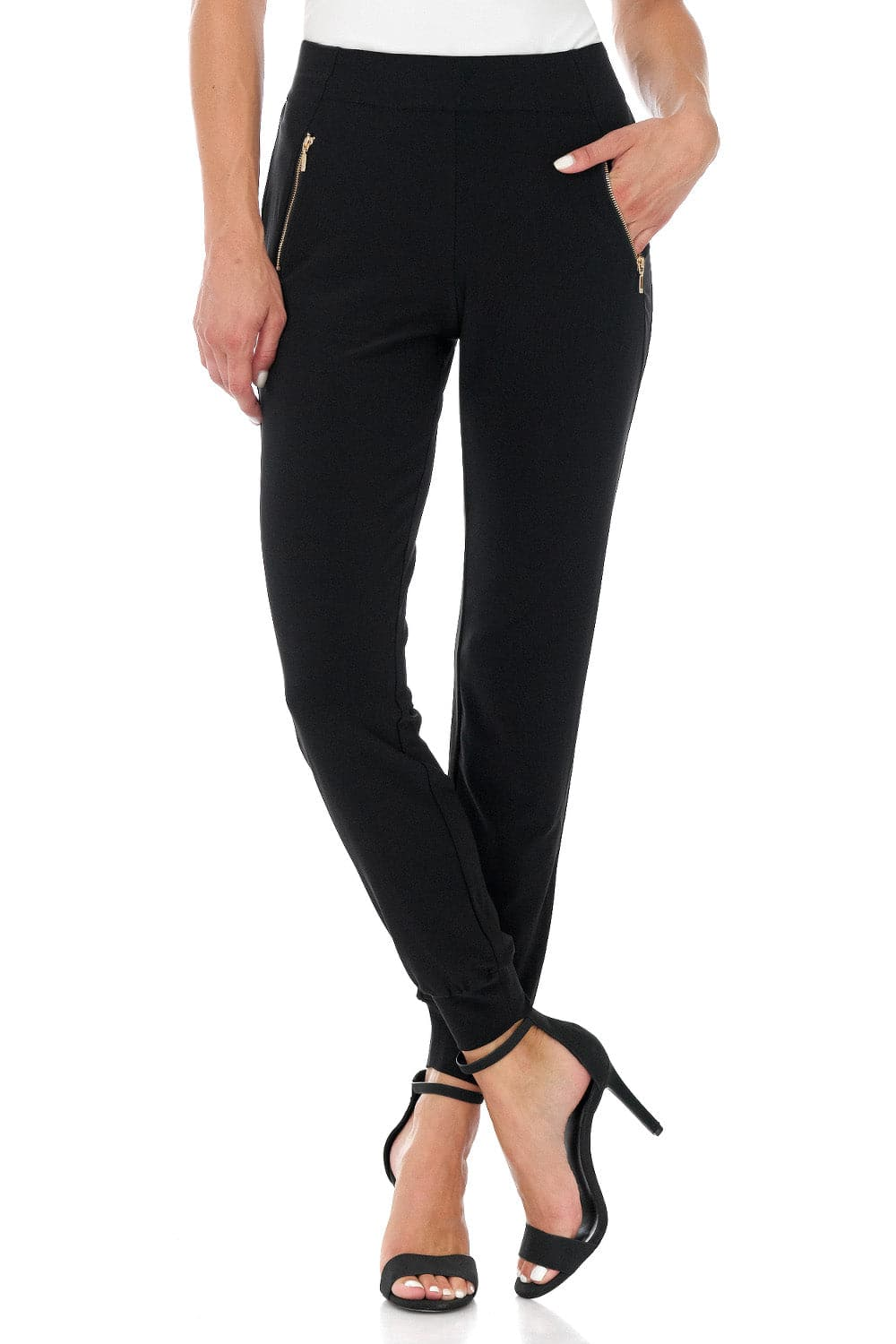Travel-in-Style Dress Pants with Metal Zippers