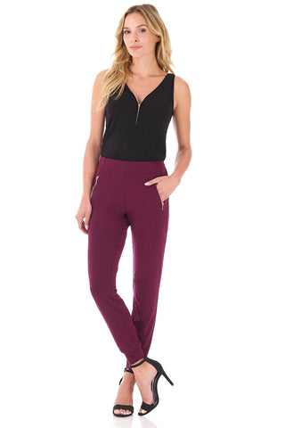 Comfy Collection Dress Pants with Metal Zippers