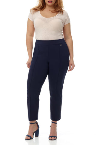 Curvy Tummy Control Work Pants with Tapered Easy Fit