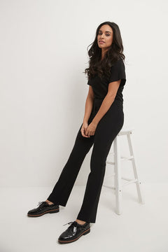 Pull-on bootcut work pants