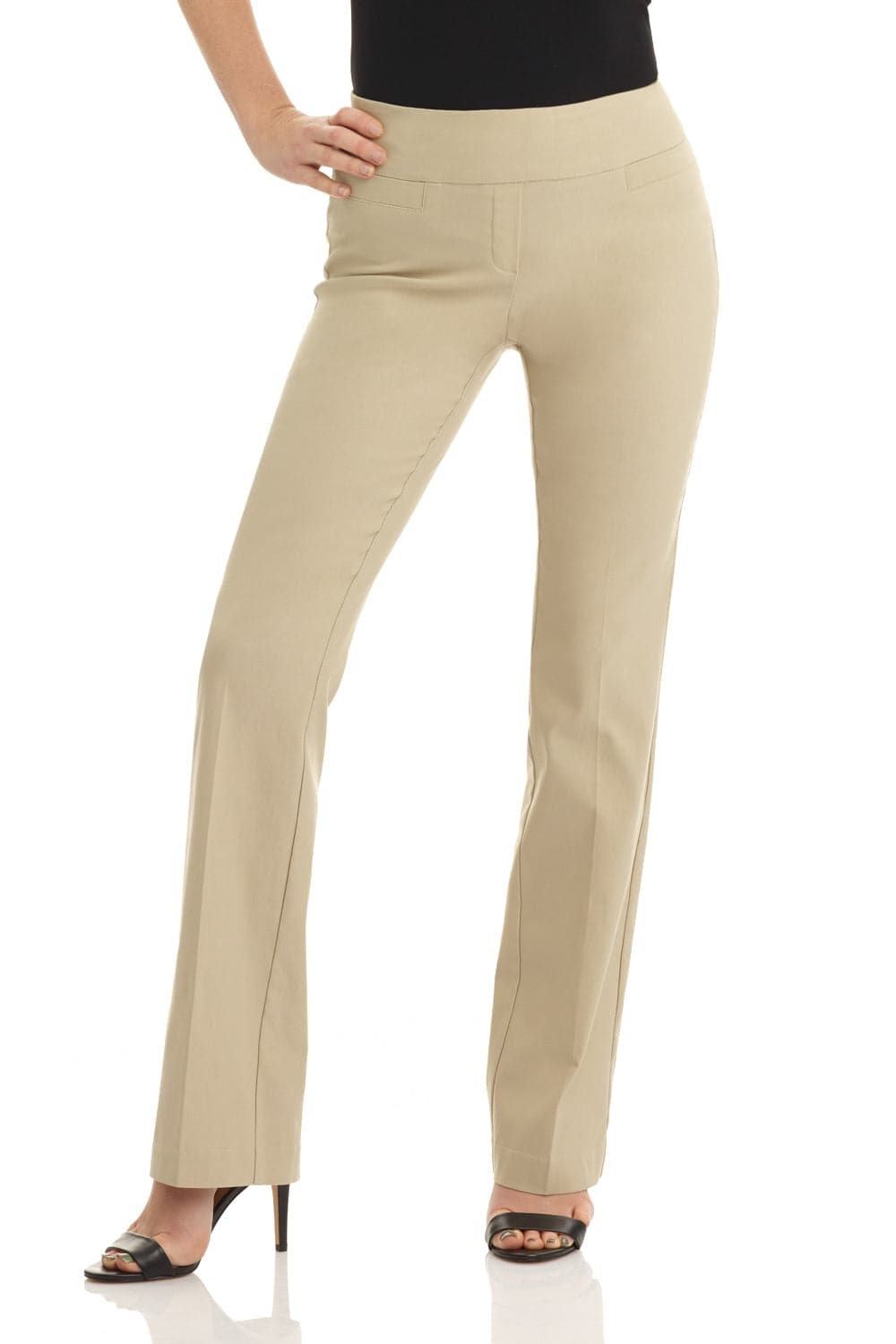 Pull-on bootcut dress pants