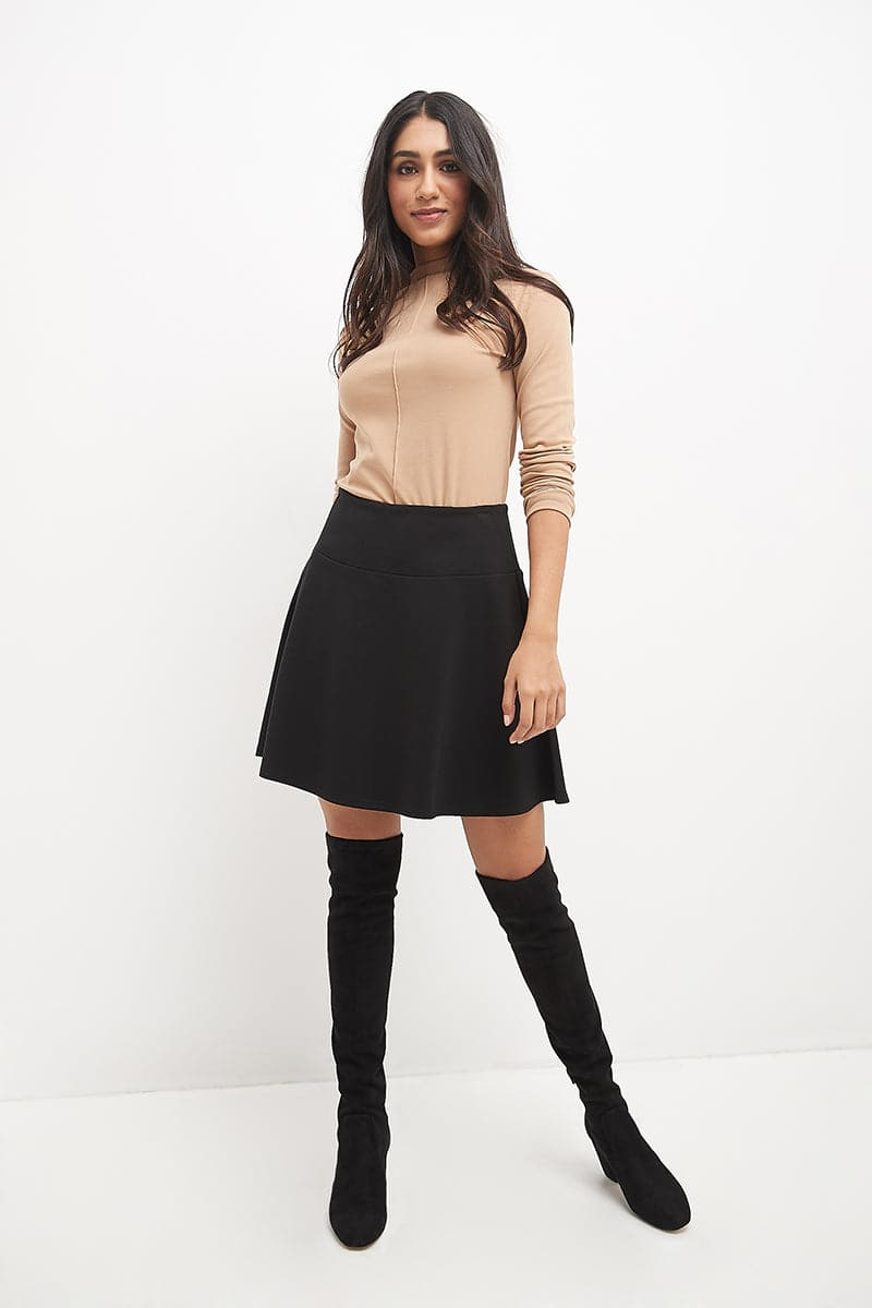 Fit-And-Flare Skirt with Wide Waistband