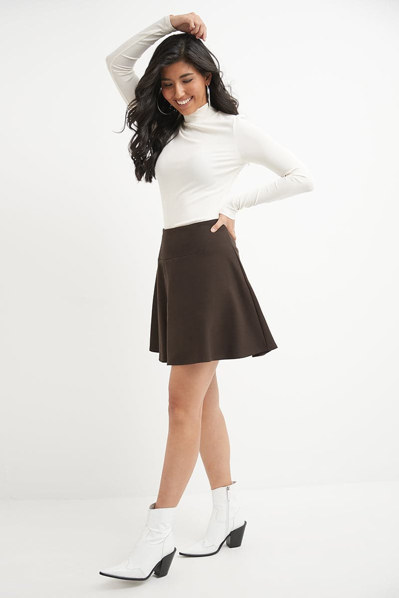 Wide Waist Flared Flippy Skirt in Luxe Ponte