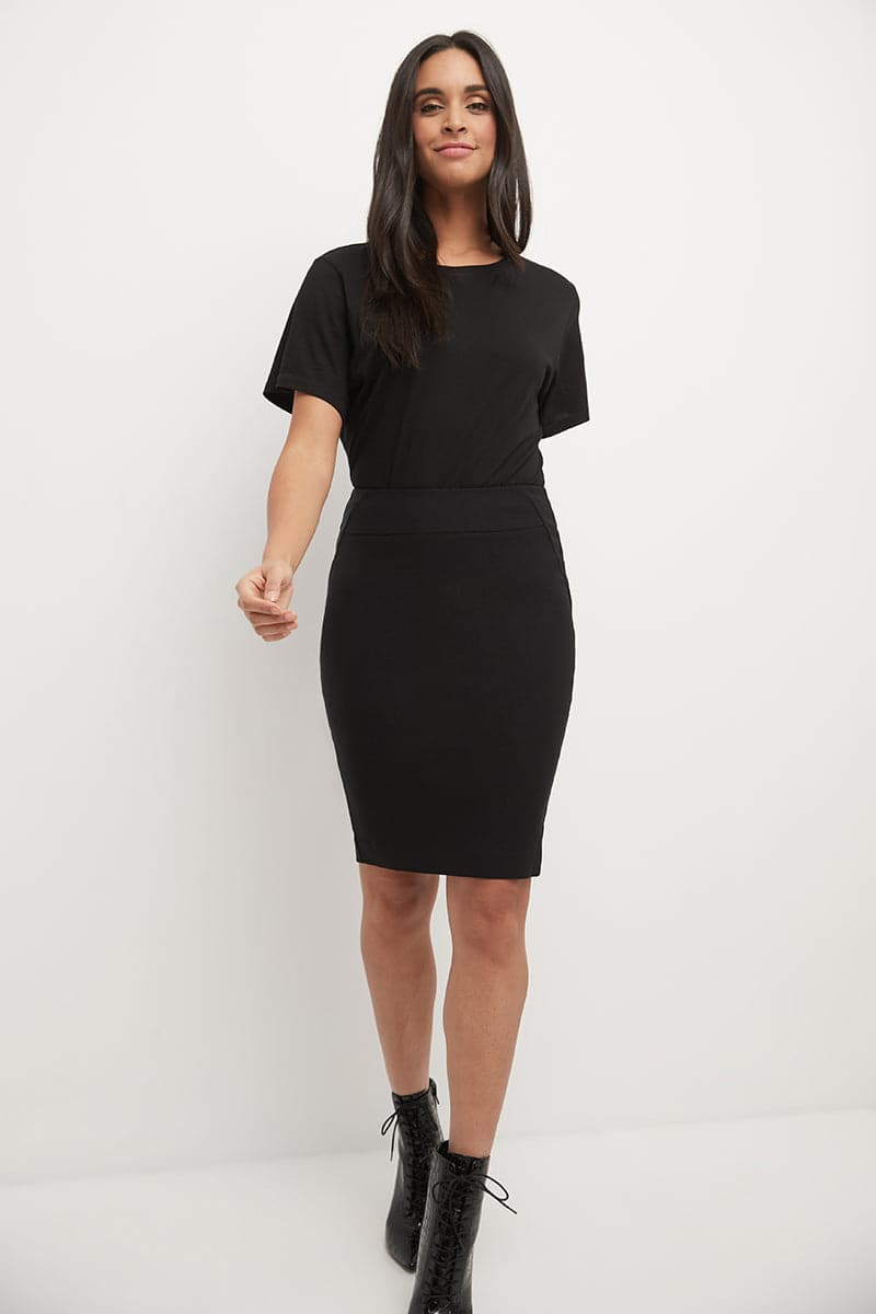 Midi Pencil Skirt with Pull-on Style Design