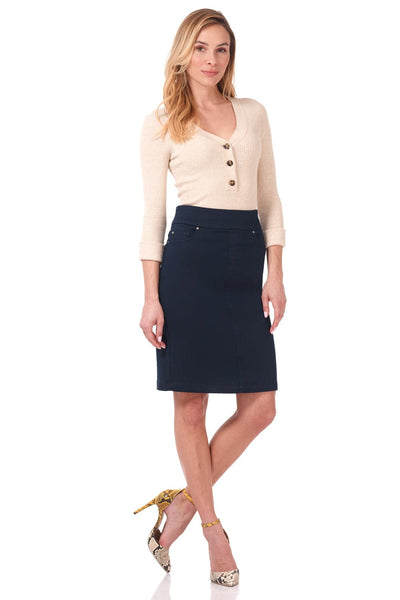 Pull-on denim skirt with five real pockets