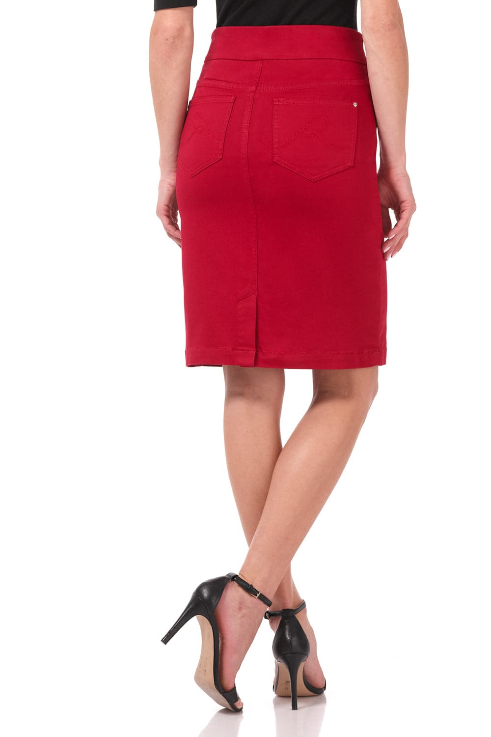 Pull-on Colored Denim Skirt with five real pockets
