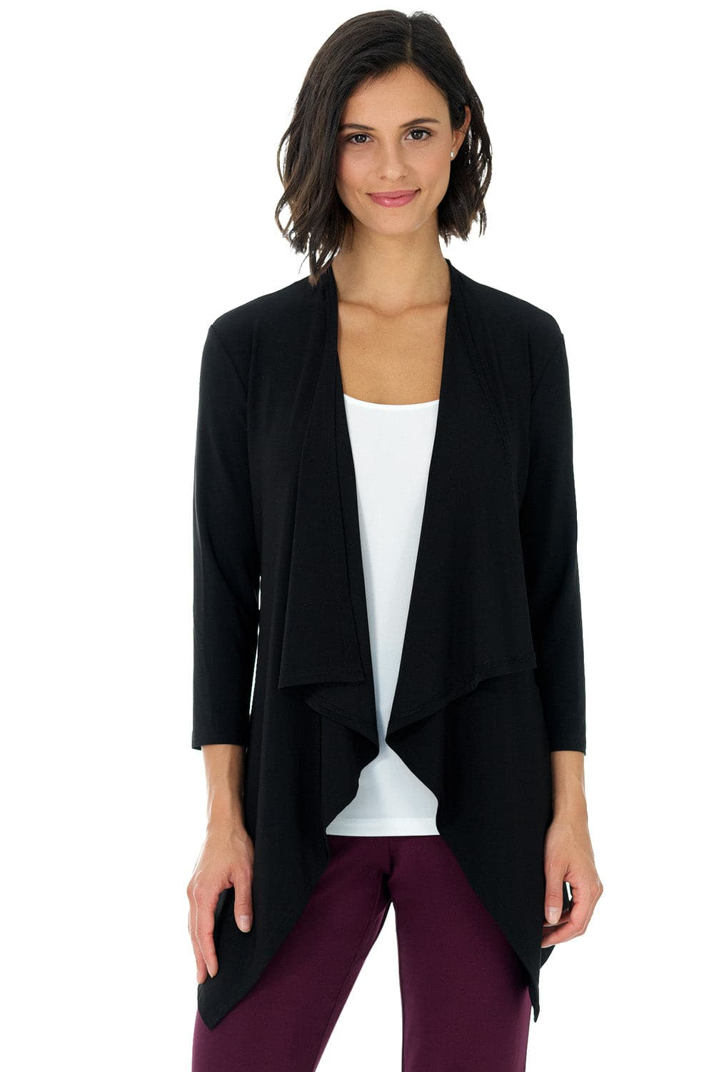 Comfy Collection Open-front Cardigan with 3/4 Sleeve