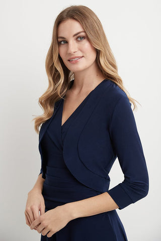 Wrinkle Resistant Bolero Shrug with Ruched Sleeves