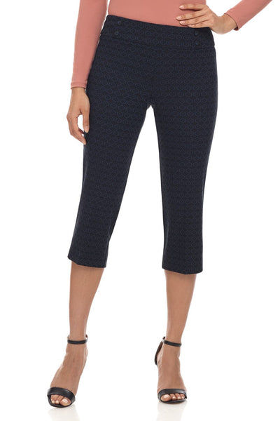 Ease into Comfort Fit Capri with Button Detail