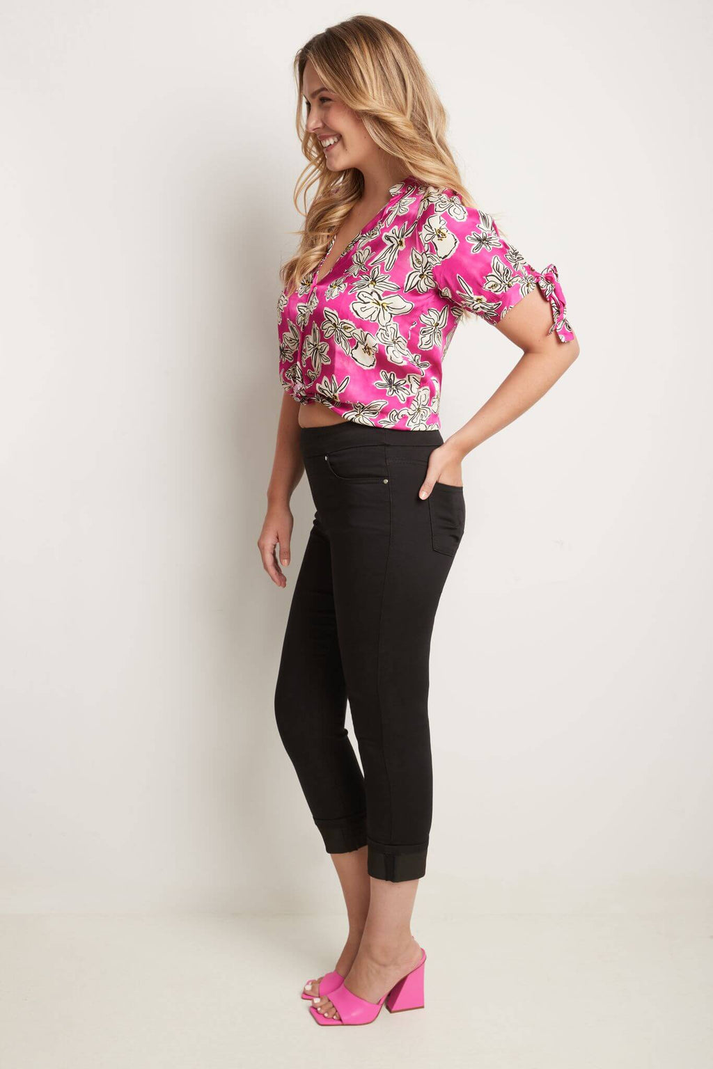 Rekucci Women's Pull-On Slim Fit Jean Capri with Cuff