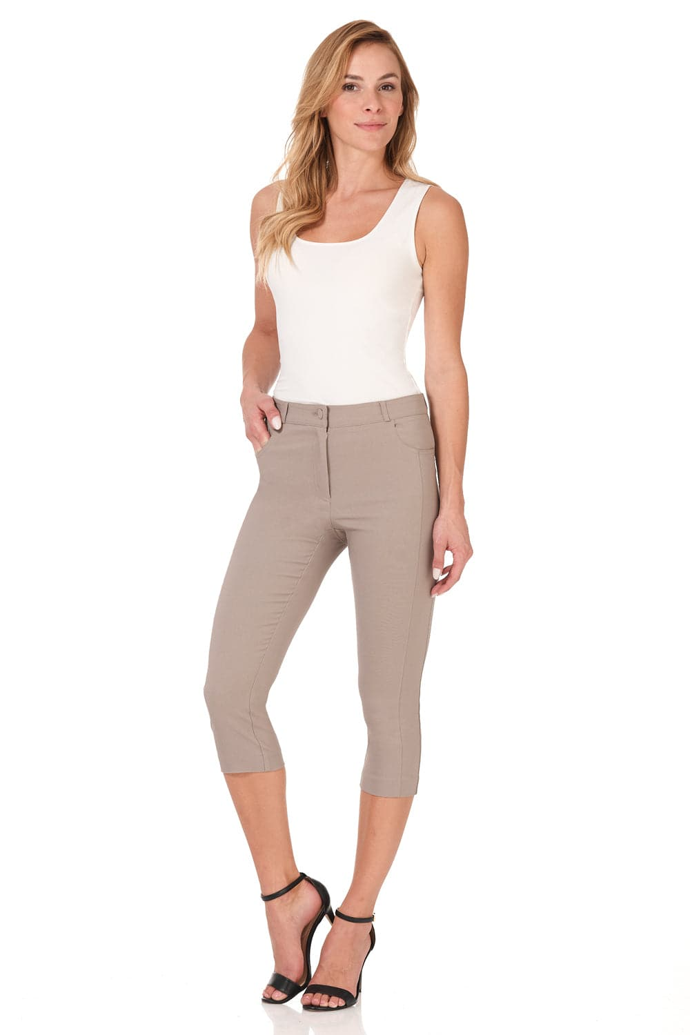 Iconic Comfort Stretch 5 Pocket Slim Fit Skinny Capri with Zipper Closure
