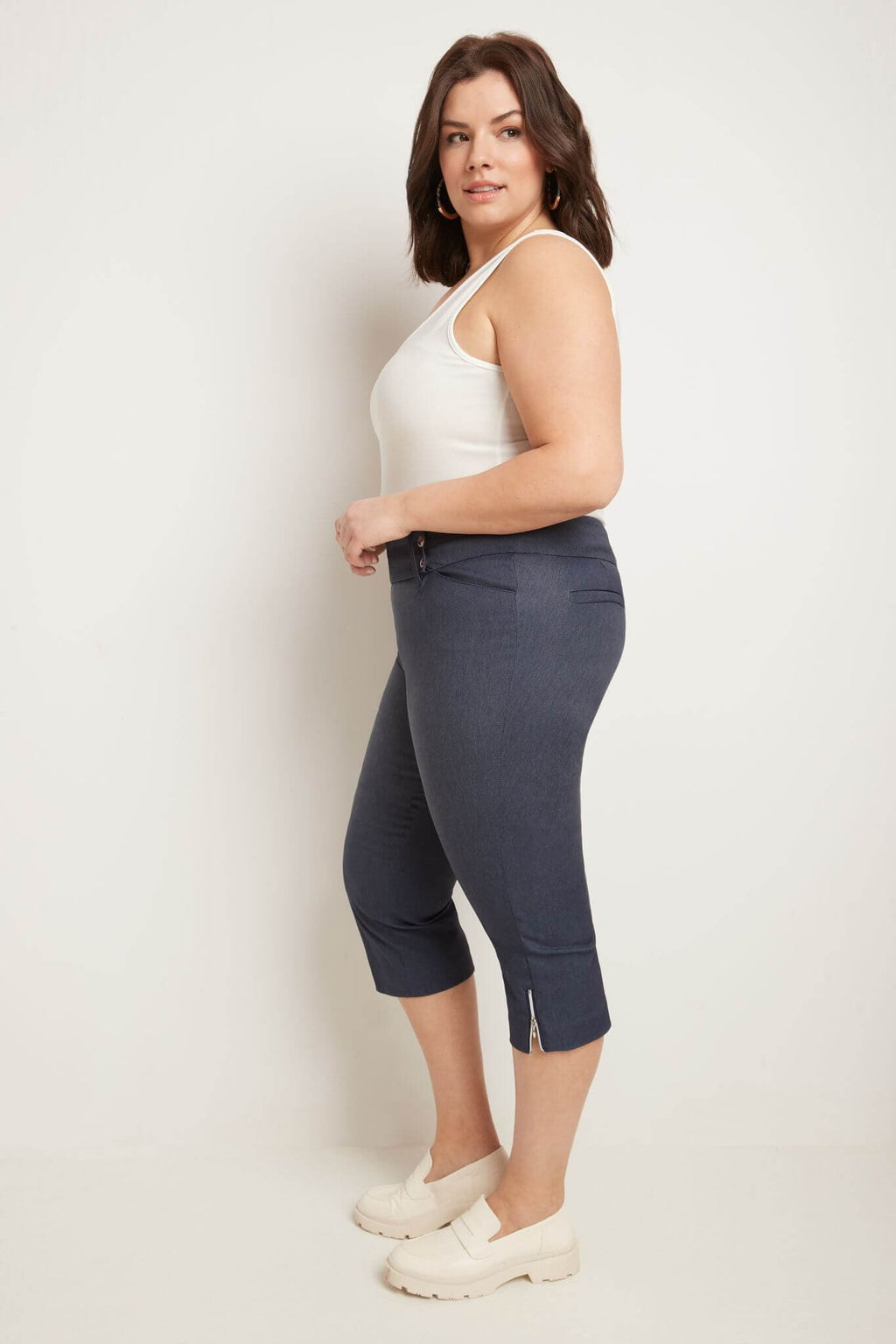 Curvy Chic Capris with Zipper Detail at the Hem