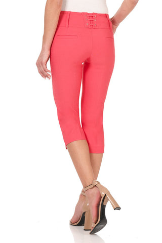 Slimming Capris with Wide Waist and Back Lacing