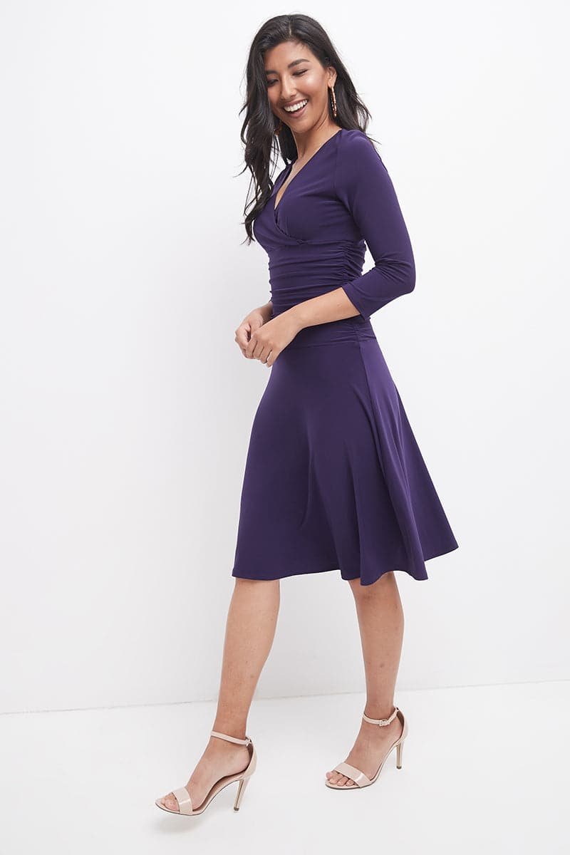 Slimming 3/4 Sleeve Dress with Ruching