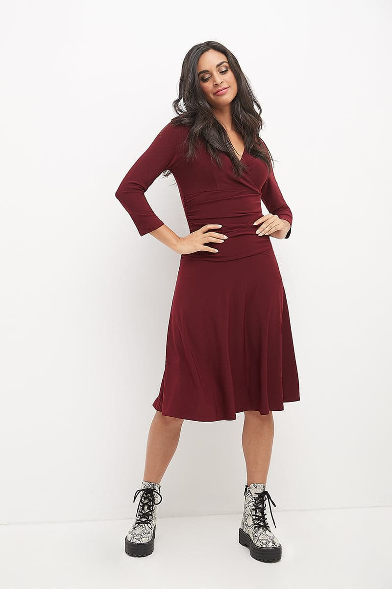 Slimming 3/4 Sleeve Fit-and-Flare Crossover Tummy Control Dress