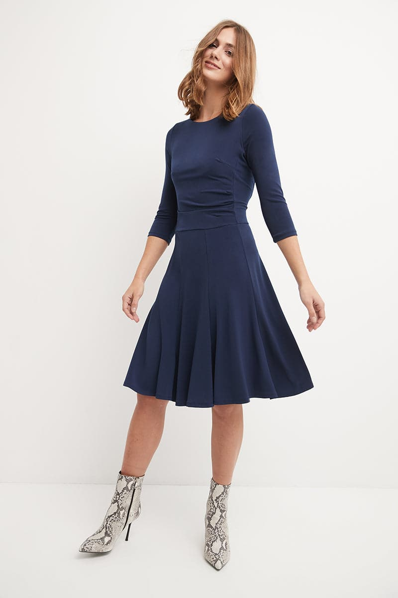 Flared Business Dress with 3/4 Sleeve