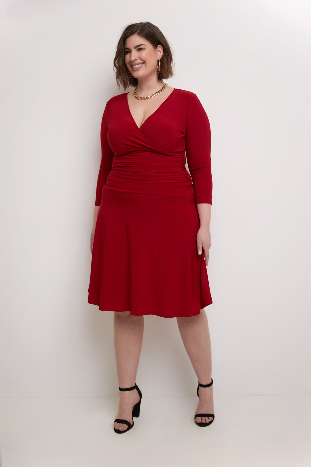 Curvy Ruched Business Dress with Tummy Control