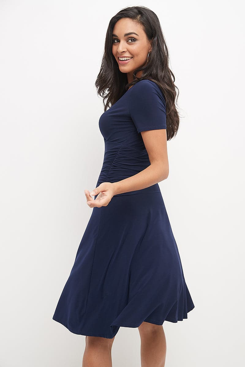 Slimming Short Sleeve Dress with Ruching