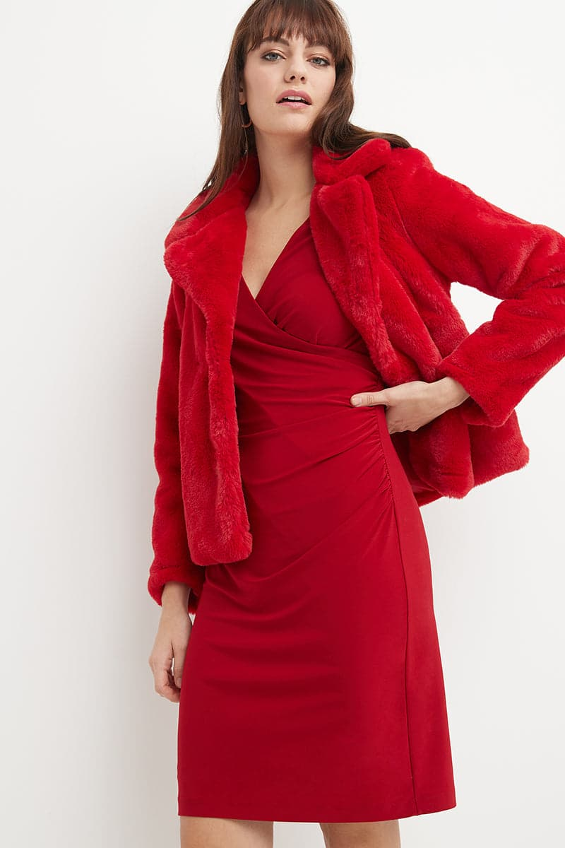 Illusion Wrap Dress with Long Sleeves