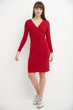 Crossover V-Neckline Dress for Work with Long Sleeves