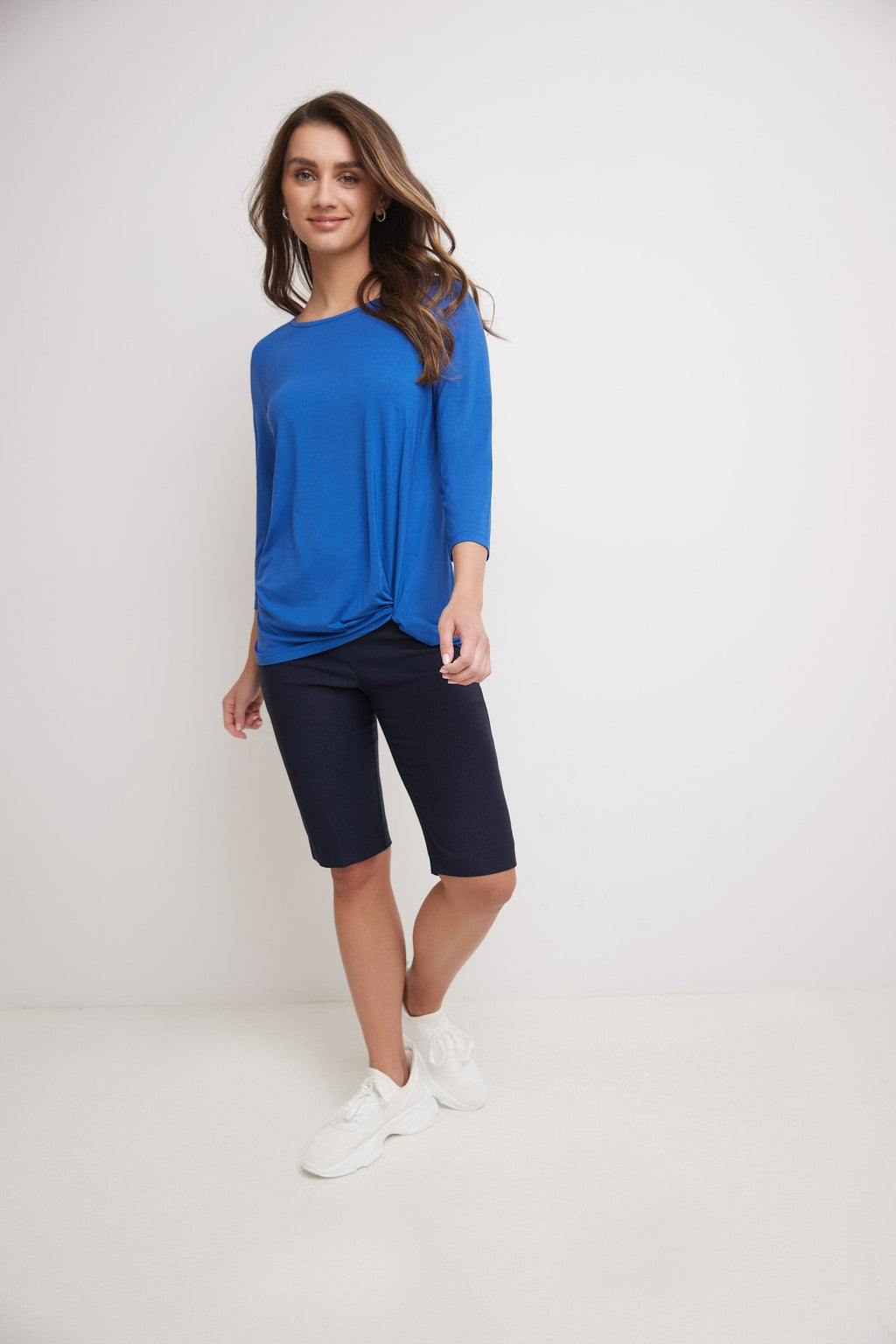 Super Soft Knit Top with Knot Detail and 3/4 Sleeves