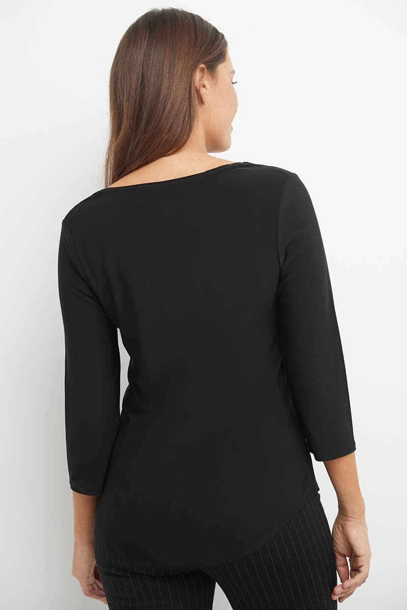 3/4 Sleeve Business Casual Top with Front Zipper