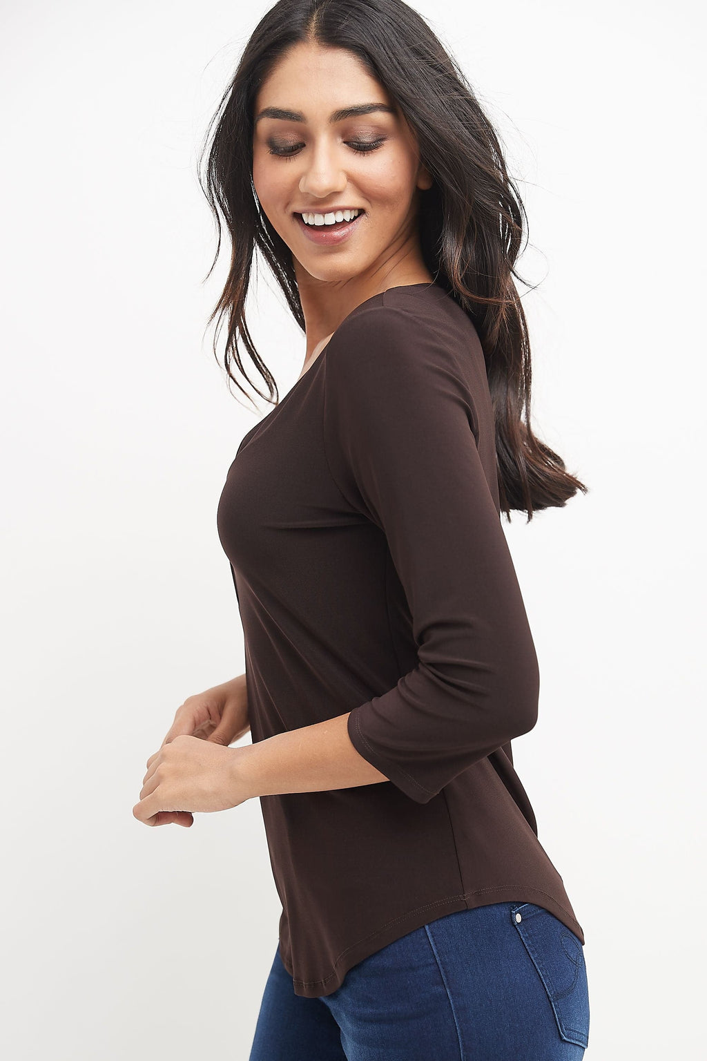 Ultra Soft and Chic 3/4 Sleeve Tunic w/ Front Zipper Detail