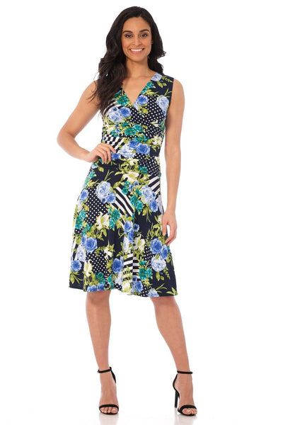 Slimming Sleeveless Fit-and-Flare Tummy Control Dress
