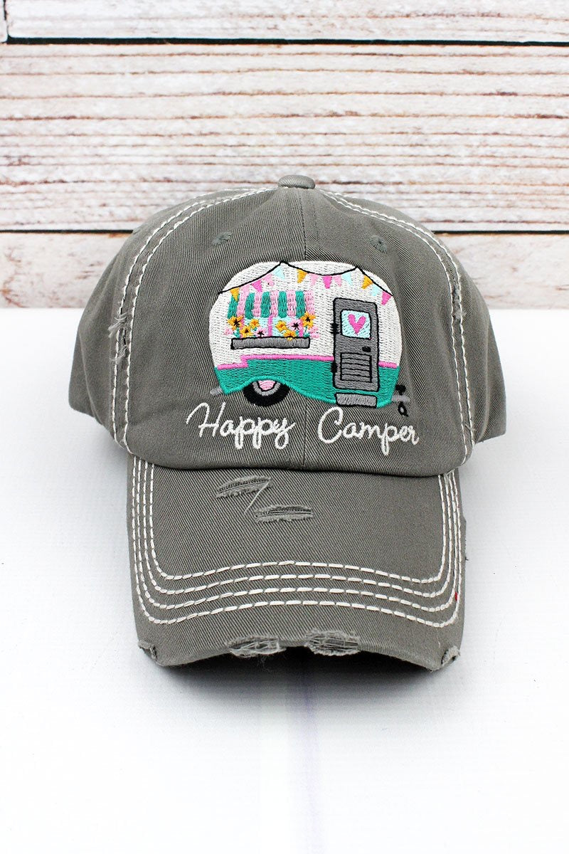 Happy Camper distressed hat