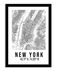 Maps Framed Print - New York