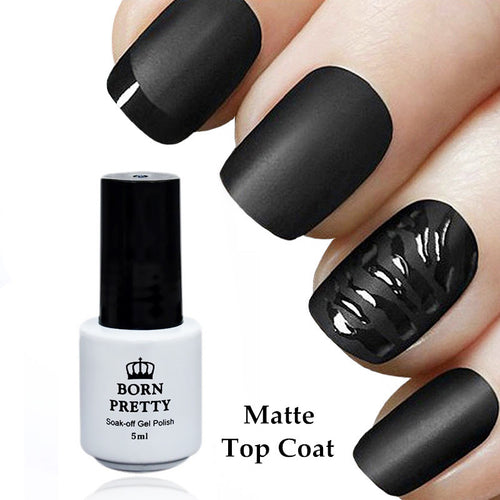 Matte Black Nail Colour. UV Curable