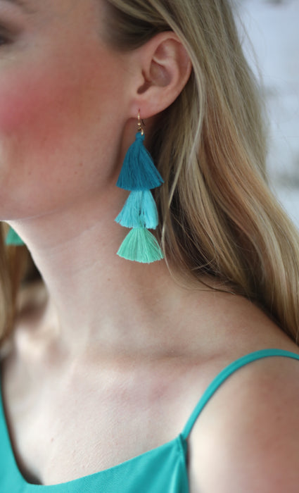 ombre tassel earrings teal