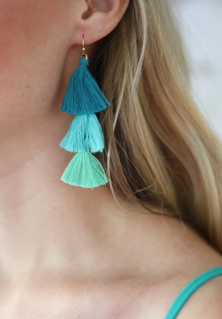 Ombre Tassel Earrings, Teal