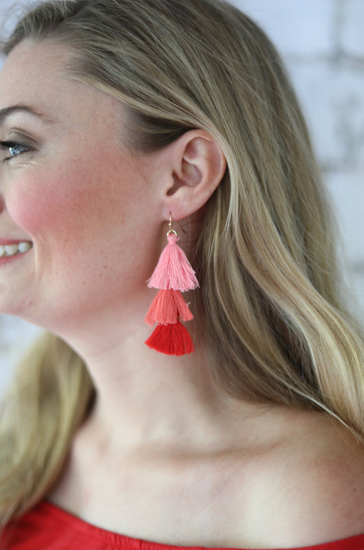 ombre tassel earrings pink red