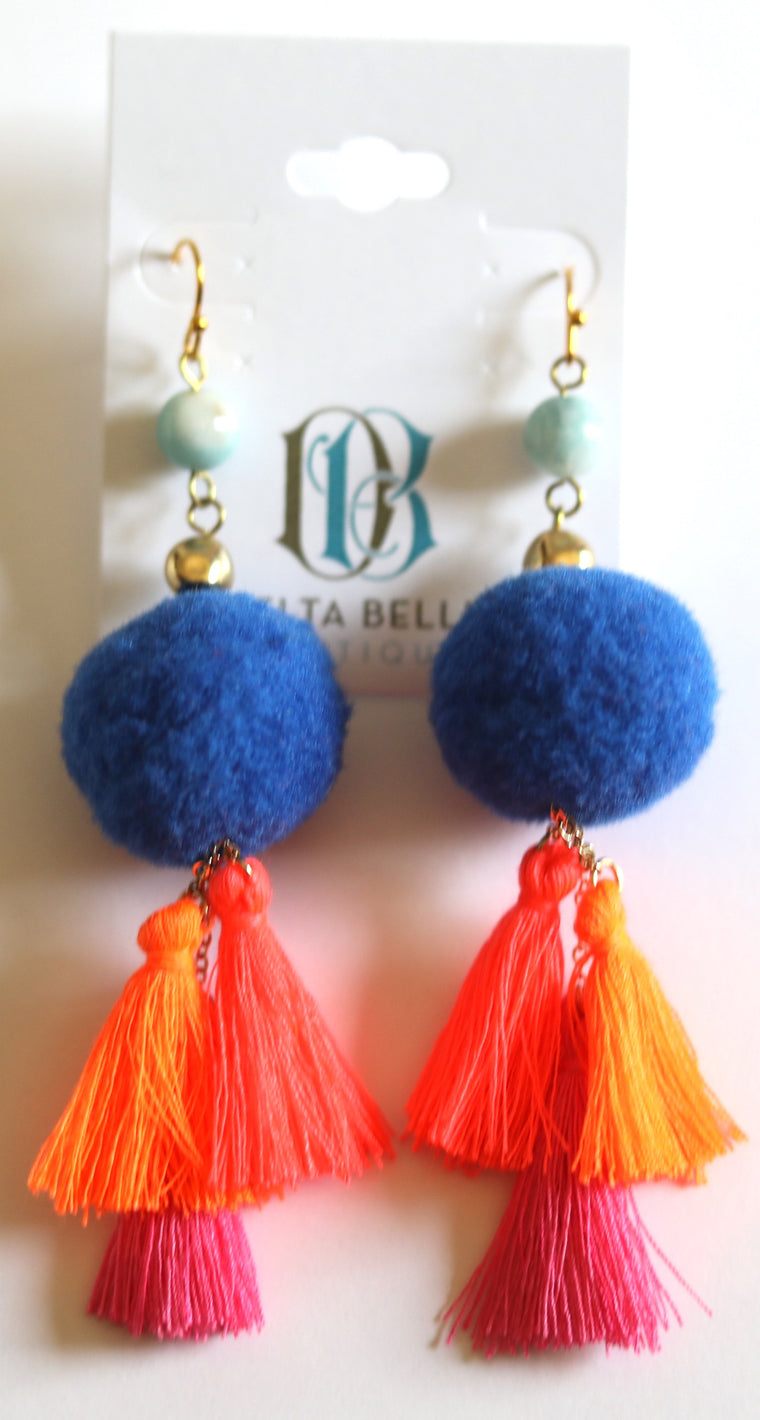 Pom Party Earrings, Multi