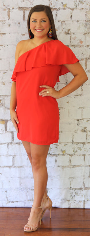 one shoulder dress red