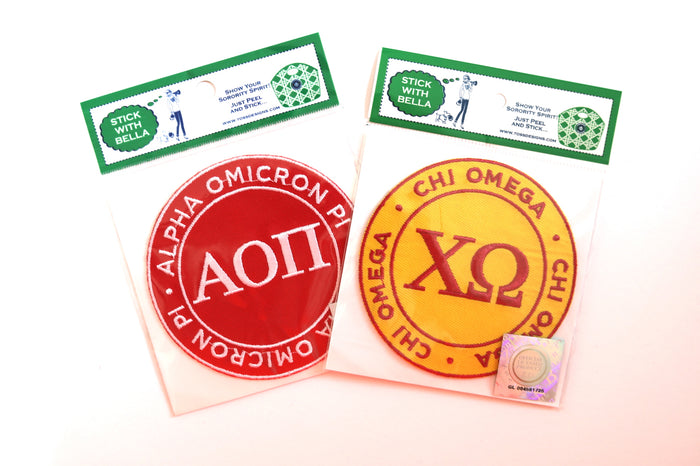 Alpha Omicron Pi Adhesive Embroidered Twill Patch