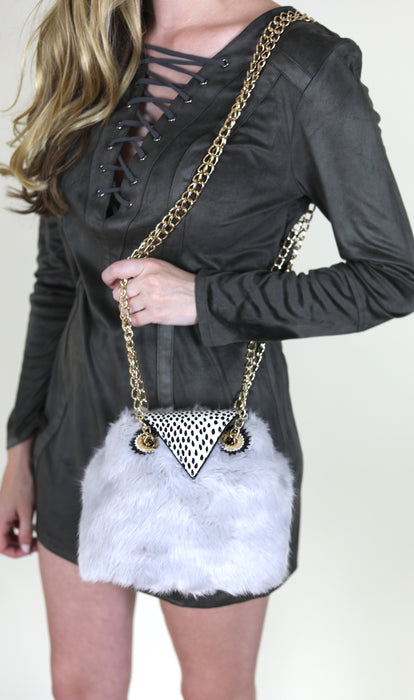 Give A Hoot Owl Crossbody by Betsy Johnson, Grey