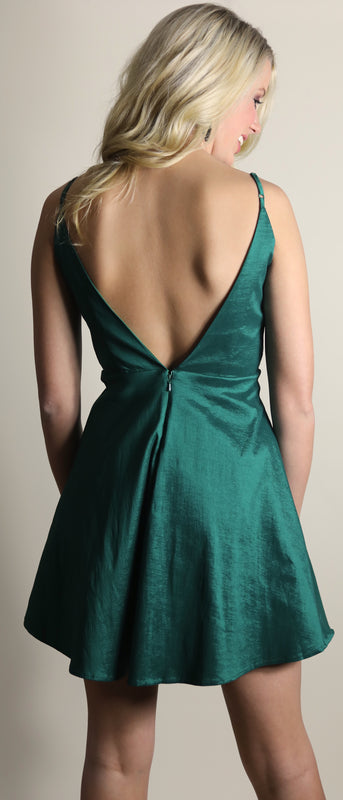 Green strappy party dress